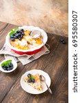 piece of homemade gluten free... | Shutterstock . vector #695580307