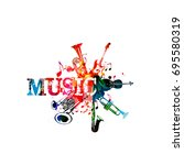 music poster with music... | Shutterstock .eps vector #695580319