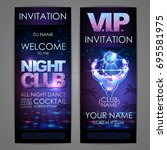 set of disco background banners.... | Shutterstock .eps vector #695581975