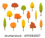 cute cartoon autumn fall trees... | Shutterstock .eps vector #695583007