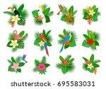 tropical plants leaves flower... | Shutterstock .eps vector #695583031