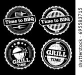 bbq and grill time grunge... | Shutterstock .eps vector #695583715