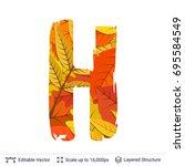 autumn fall bright orange... | Shutterstock .eps vector #695584549