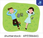 young couple lying on green... | Shutterstock .eps vector #695586661