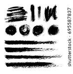 brush strokes isolated. ink... | Shutterstock .eps vector #695587837