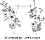dog roses flowers drawing... | Shutterstock .eps vector #695589295