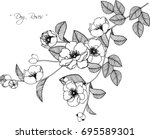 dog roses flowers drawing... | Shutterstock .eps vector #695589301