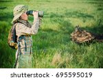 boy exploring nature and the... | Shutterstock . vector #695595019