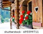 typical bavarian or austrian... | Shutterstock . vector #695599711