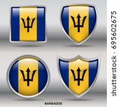 flag of barbados in 4 shapes... | Shutterstock .eps vector #695602675