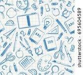 back to school doodle seamless... | Shutterstock .eps vector #695604589