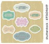 set of vintage frames of pastel ...   Shutterstock .eps vector #695604649