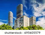 high rise buildings in moscow.... | Shutterstock . vector #695605579