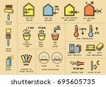 vector set of icons for packing ... | Shutterstock .eps vector #695605735