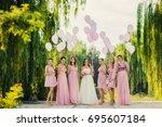 beautiful happy smiling bride... | Shutterstock . vector #695607184