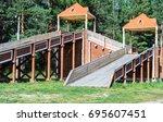 children's wooden slide | Shutterstock . vector #695607451
