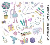 vector collection of colored... | Shutterstock .eps vector #695608051