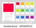 monthly calendar for year 2018. ... | Shutterstock .eps vector #695609521