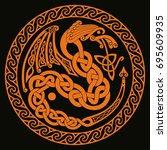 celtic dragon with national...   Shutterstock .eps vector #695609935