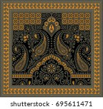 traditional indian paisley... | Shutterstock . vector #695611471