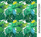 tropical plant seamless pattern ... | Shutterstock .eps vector #695615284