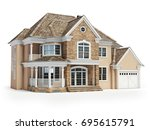 house isolated on white. real... | Shutterstock . vector #695615791