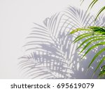 palm leaf and shadows on a... | Shutterstock . vector #695619079