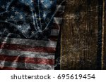 usa flag on a wood surface | Shutterstock . vector #695619454