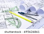 architectural blueprints and... | Shutterstock . vector #695626861
