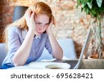 waist up portrait of exhausted... | Shutterstock . vector #695628421