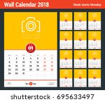 wall calendar template for 2018 ... | Shutterstock .eps vector #695633497