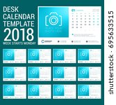 desk calendar for 2018 year.... | Shutterstock .eps vector #695633515