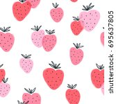 abstract strawberry doodle... | Shutterstock .eps vector #695637805