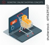 online shopping isometric icons ... | Shutterstock .eps vector #695639107