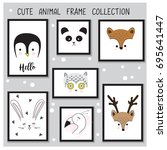 Stock vector cute animal hand drawn frame collection set in vector 695641447