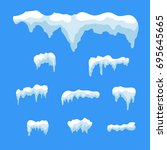 snow ice icicle set winter... | Shutterstock .eps vector #695645665
