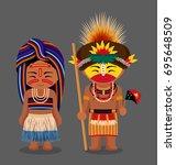 papua new guinea. huli tribe.... | Shutterstock .eps vector #695648509