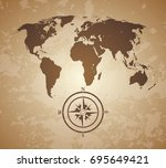 vintage old style world map... | Shutterstock . vector #695649421
