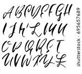hand drawn dry brush font.... | Shutterstock .eps vector #695657689