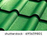 metallic roof with drops of... | Shutterstock . vector #695659801