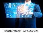 handsome european businessman... | Shutterstock . vector #695659921