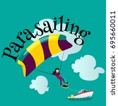 parasailing water extreme... | Shutterstock .eps vector #695660011