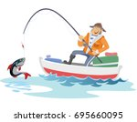 flat fisherman hat sits on boat ... | Shutterstock .eps vector #695660095