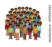 swarthy men community vector... | Shutterstock .eps vector #695661361