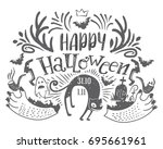 happy halloween lettering... | Shutterstock . vector #695661961
