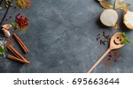 various spices on vintage...   Shutterstock . vector #695663644