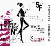 fashion woman in sketch style....   Shutterstock .eps vector #695663821