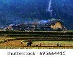 dong van  ha giang  vietnam ... | Shutterstock . vector #695664415