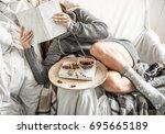 cute girl on a comfortable...   Shutterstock . vector #695665189