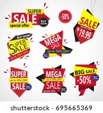 creative set of  colorful sale... | Shutterstock .eps vector #695665369